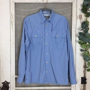 Orvis Trout Bum Blue Vented Button Down Small